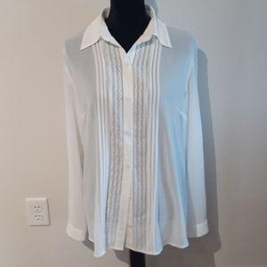NWT CABI see-through sheer blouse, sz medium